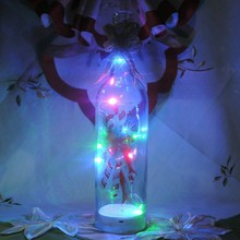 transparency glass RGB color LED bottle light for christmas decoration