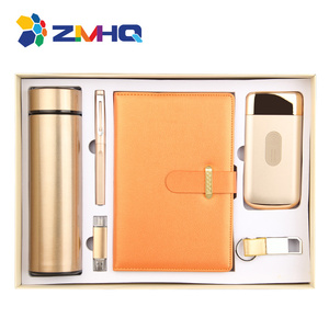 Wireless power bank 10000mah +vacuum flask + pen + usb + notebook + key chain office gift set