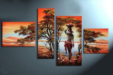 African woman in the forest handmade oil painting