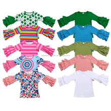 new fashion long sleeve ruffle kids wear girl t shirt baby clothes