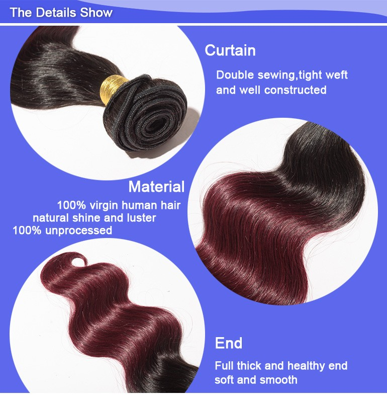 Befa Hair factory price top grade body wave 3 bundles red brazilian hair weave