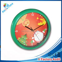 New design Cheap ABS material quartz analog type christmas music wall clock with promotion gift