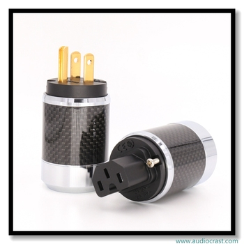 OEM Carbon Fiber Gold plated US Power Plug +IEC cable Connector for DIY Power cable
