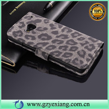 Leopard Grain Magnet Flip Cute Case For HTC One M7 Leather Cover