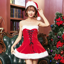 2017 red cute sexy Santa Baby Corset dress christmas costume with hat