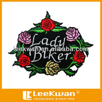 Rose lady biker embroidery patch iron on embroidered patch