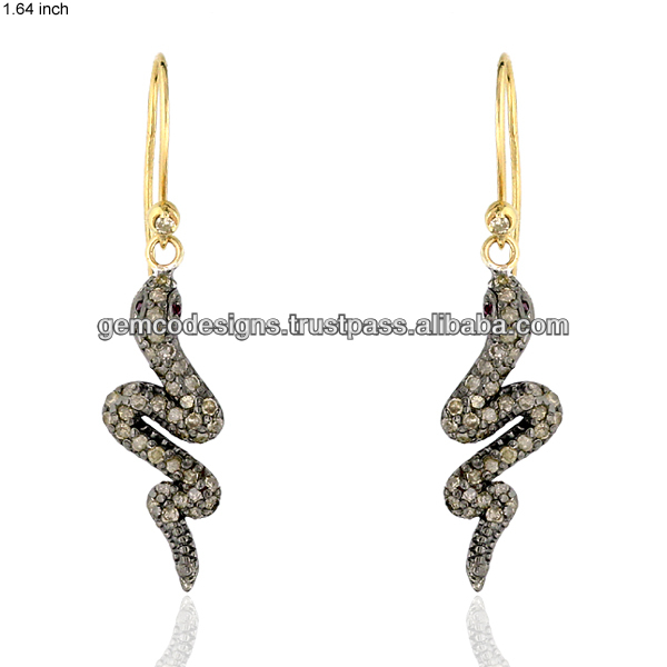 Pave Diamond Snake 14k Yellow Gold French Wire Drop Earrings Jewelry