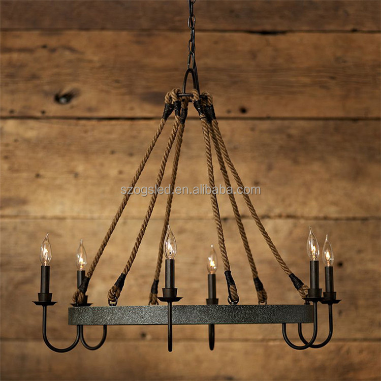 Antique industrial 6 lights Hemp Rope Vintage Chandeliers Black Iron Pendant Lighting For Home Hotel Lobby