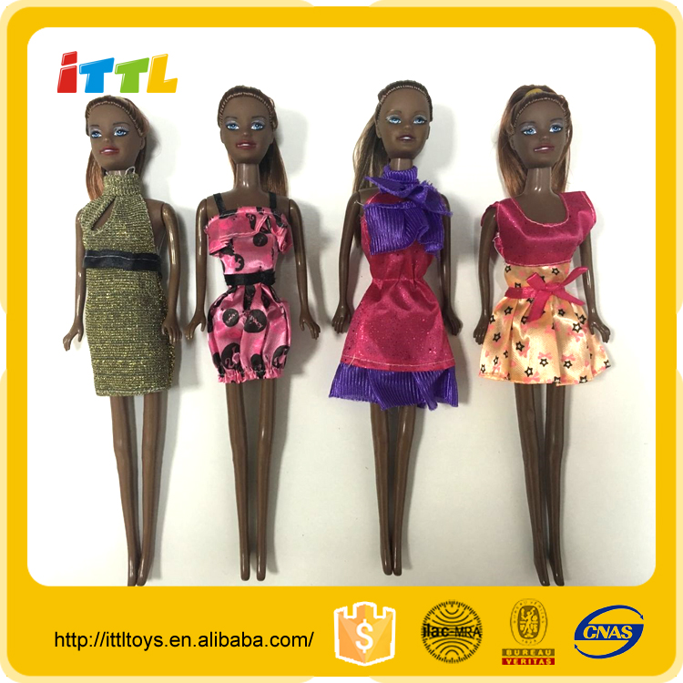 11 inch solid body fashion doll,4 designs mix black doll,new arrival cheap girl dolls