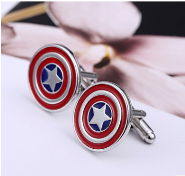 American Flag Plated Red Logo Cuff link and Studs Set