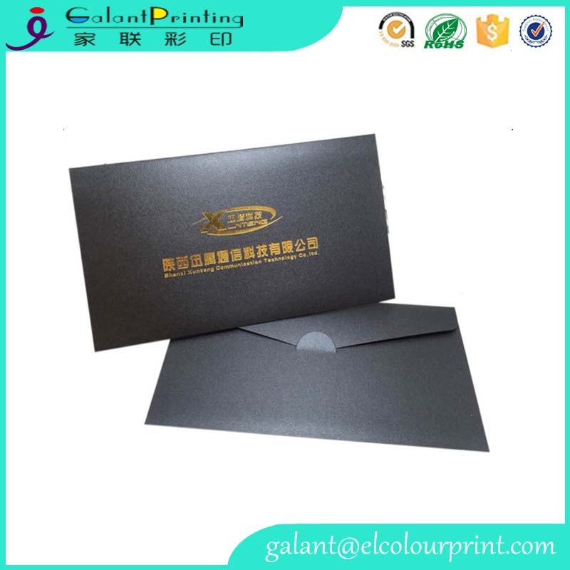 special black cardboard material A3 paper envelope with custom gold stamping logo