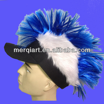 Hot selling mohawk cap for party events with blue hair and brown hair