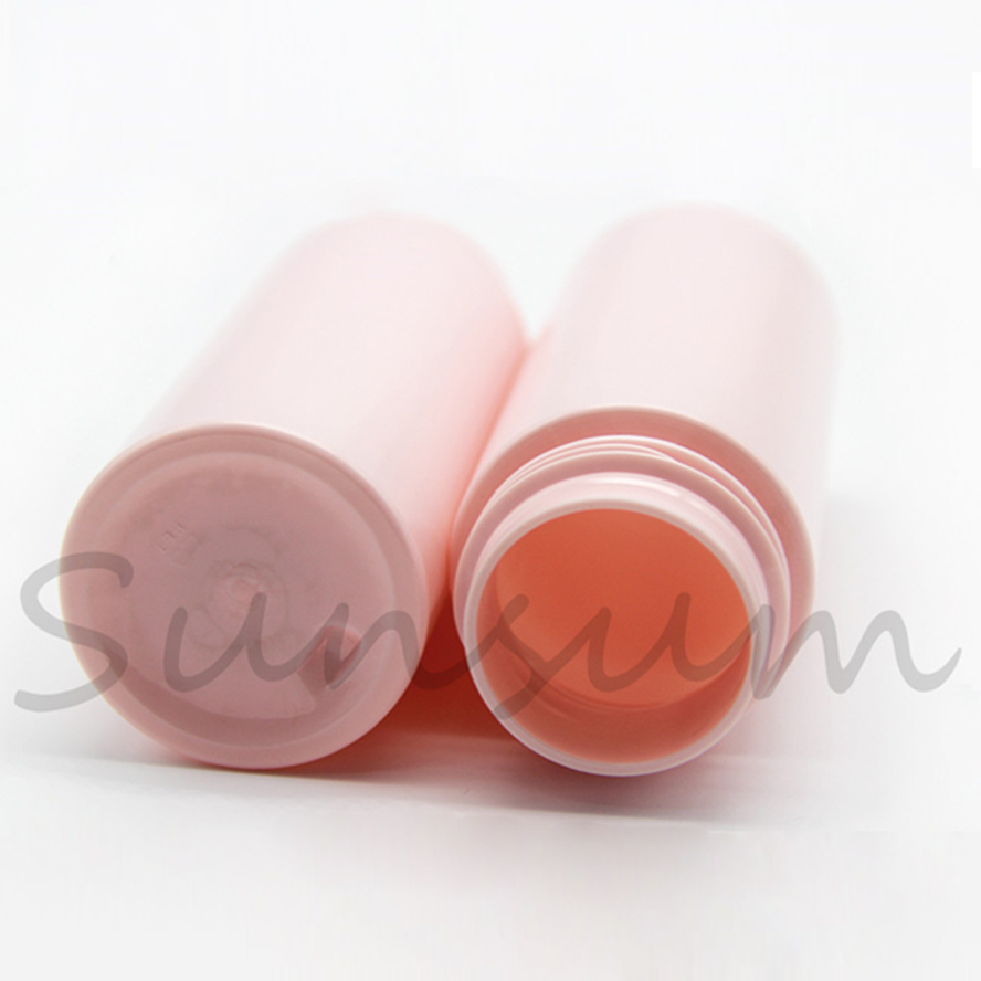 Matte pink color 100ml plastic pet bottle with foam pump for cosmetic packaging use