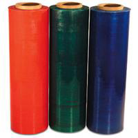 different gauge, 80 , 90, 100, hand colored stretch rolls and machine colored stretch rolls bundling stretch film