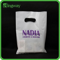 2015 HOT die cut plastic bag with your logo printing cellophane shopping bag for packaging clothes