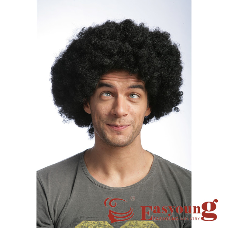 Natural black Unisex Deluxe Disco Afro Wig for Adult ,football fans /soccer wigs