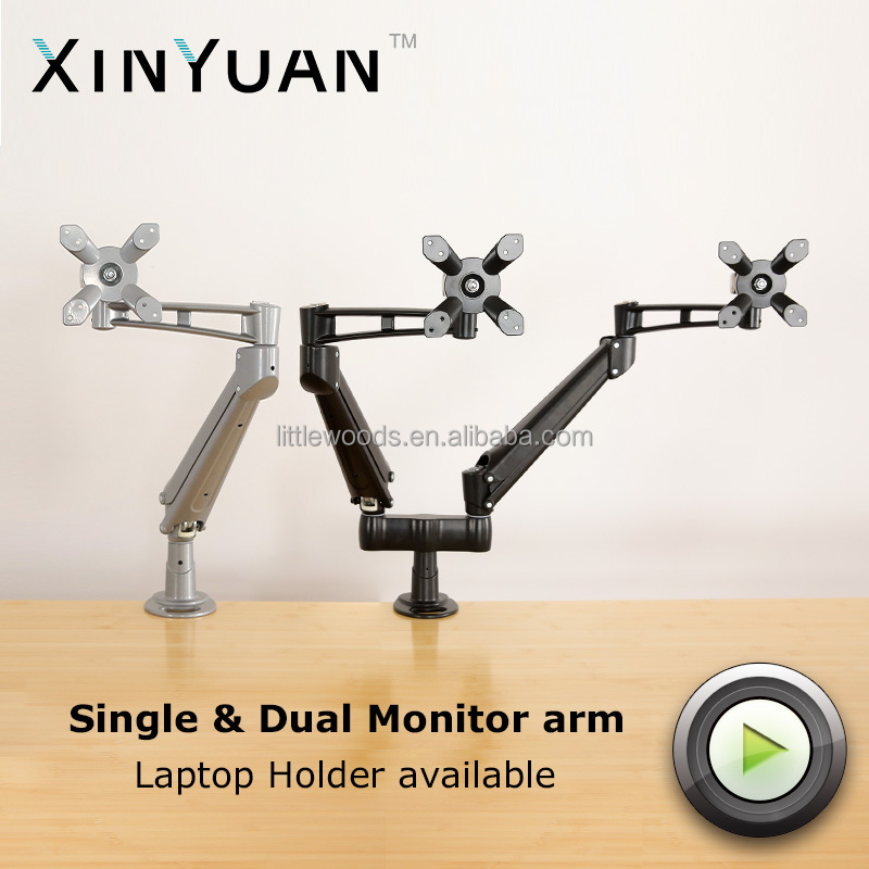 luminum Gas Spring Adjustable Double LCD swing monitor arm to US