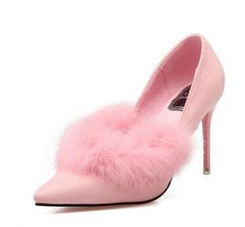 Wholesale GuangZhou sexy ladies pumps women Rabbit hair high heel shoes