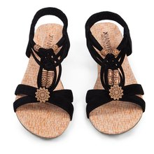 Summer Vintage Women Sandals Gladiator Wedge Woman Shoes Beach Flip Flops Elegant Bohemian Low Wedges Lace Up Women Beach Shoes