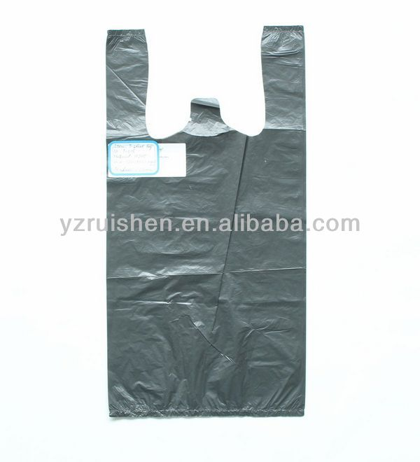 Black Vest Handle Trash Packing Bag Recycle PE Material
