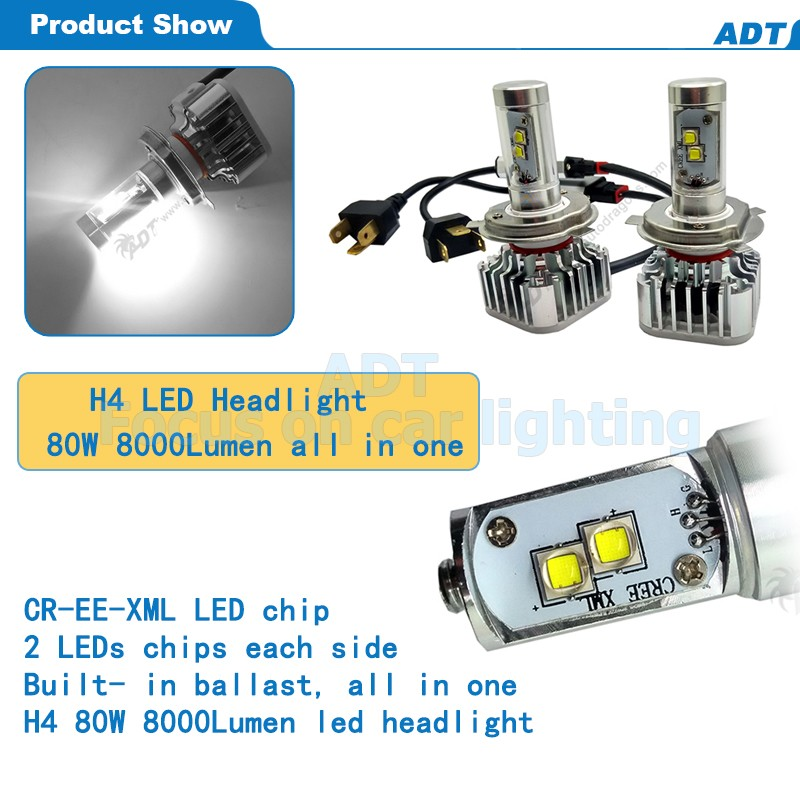 hot selling 80W 8000LM H4 HI/LOW CR-EE LED Headlight Kit Light Bulbs 6000K White High Power