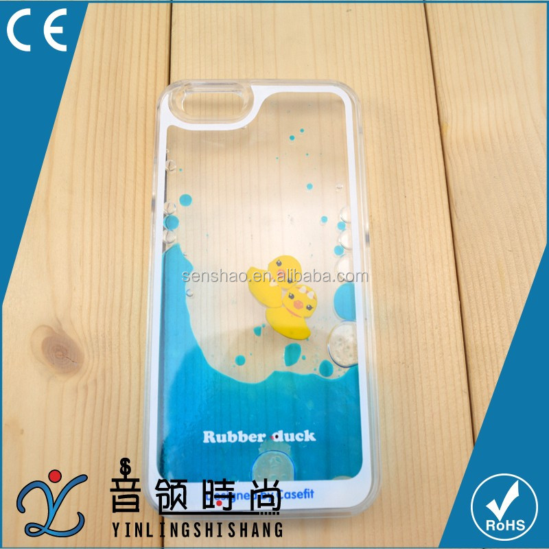 2016 swimming rubber duck flowing star floating moving liquid mobile phone cover case for iphone 5/6/6s plus case