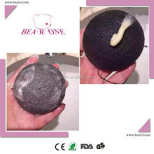Black Konjac Ball Sponge Puff With Added Bamboo Powder, Oily And Acne Skin