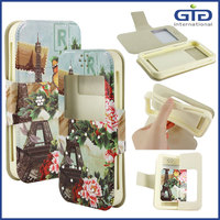 Diamond PU+Silicon Universal Flip Case with Beautiful Images for Cellphone