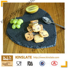 [Factory direct]Romantic heart shape cut edge30*30cm natural black slate plate complete in specifications