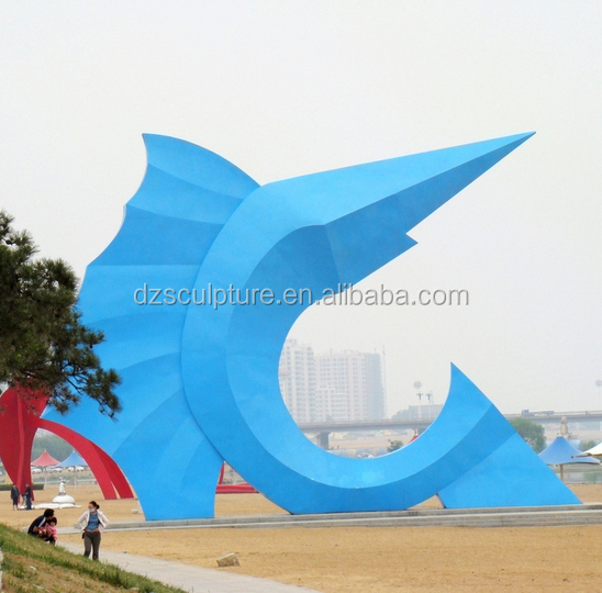 304 stainless steel large blue sailfish sculpture outdoor decoration project