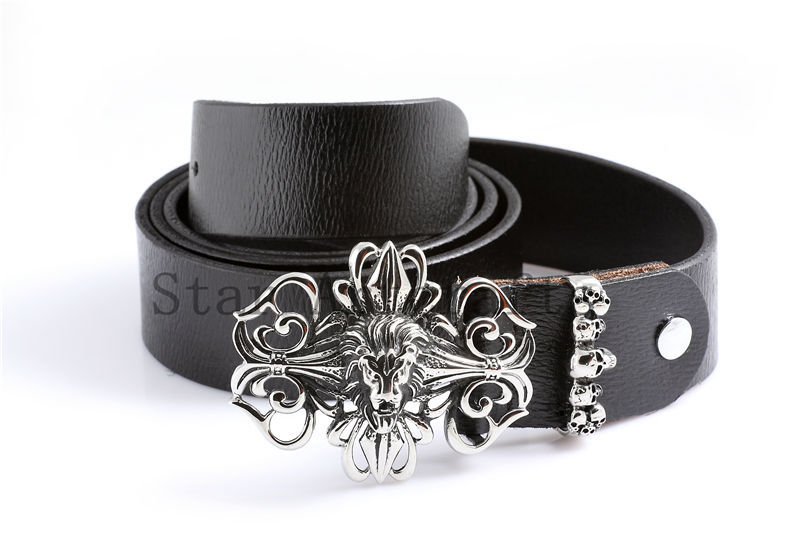 Leather covered belt buckle Decoration Belt for Men Lion Head Adjustable Buckle Stainless Steel Designs