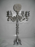 nickel plated wedding candelabra with flower bowl