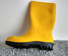 Yellow Black PVC Knee High plastic Safety Boots