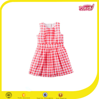 2016 fancy kids casual dress designs for pakistani girls gingham crepe dress