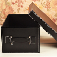 British gride 3 set of Wooden Storage Cabinet sundries leather storage box with lid handle for house office