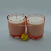 30 hours burnning Pink color glass jar soy candle for spa and massage