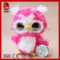 Big eyes series animals soft cute small birds plush pink owl toys