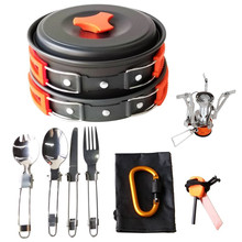 Wholesale Alibaba Camping Cookware 17Pcs Camping Cookware Mess Kit Backpacking Gear & Hiking Outdoors Cooking Equipment Cookset