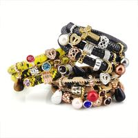 Best Custom Bulk New Design Lucky Leather Wrap Gold Silver Charm Bracelet For Women Jewelry Girls