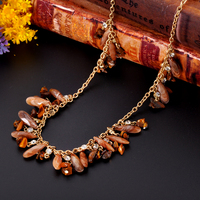 Elegant Stone Material Design Chain Statement Necklace
