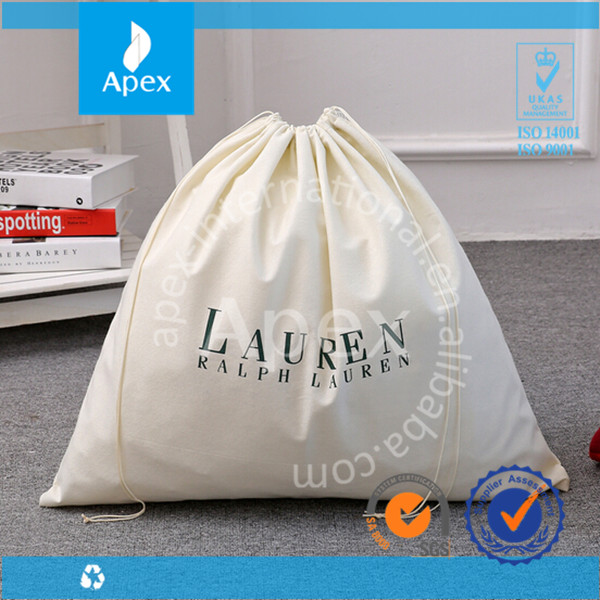 Logo printed drawstring cotton dust bag covers