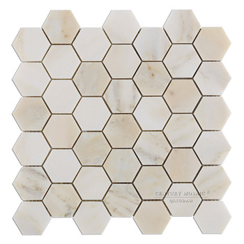 Parquet Flooring Bathroom Floor Mosaic Pattern Cream Marble Hexagon Floor Tile