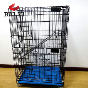 BAIYI Brand 2/3/4 Level Metal Cat Cages With Wheels (Factory, Low Price, Fast Delivery, Free Sample)