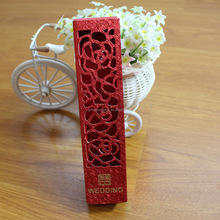 2016 Hot Sales Hollow Glitter Red Chocolate Box for Wedding Invitation