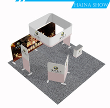 hybrid modular easily pop up tension fabric trade show backlit tubular exhibition display stand
