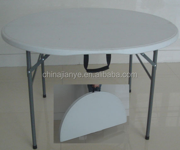 4ft blow molding white plastic folding round table