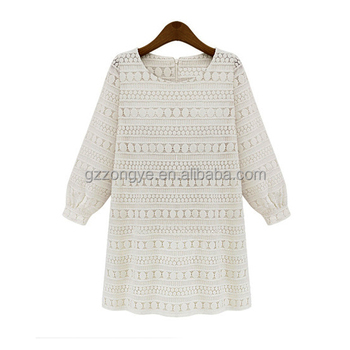 Europe women polyester cotton lace long sleeve ladies dresses