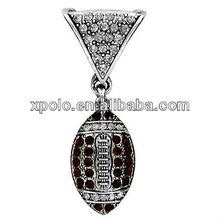 Charm Crystal Accented Football Scarf Pendant