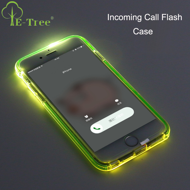 Very Cool Incoming Call Flash Light Up Mobile Phone Cover Case For iPhone 7 With TPU Frame Shock proof