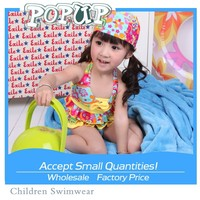 Wholesale hot cute 2pcs printed children swimwear with yellow bowknot 2015 sexy young girl bikini with hat